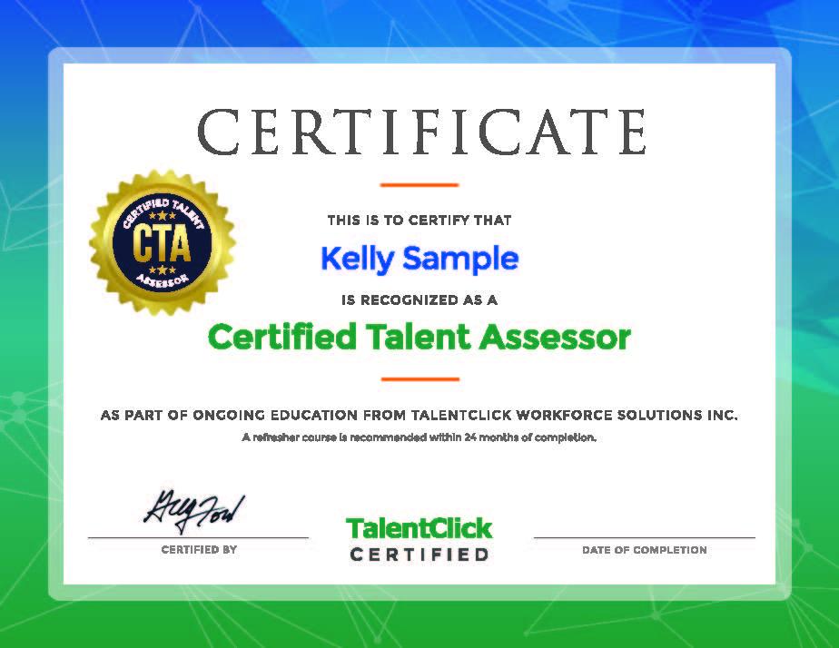 CTA Certificate Kelly Sample
